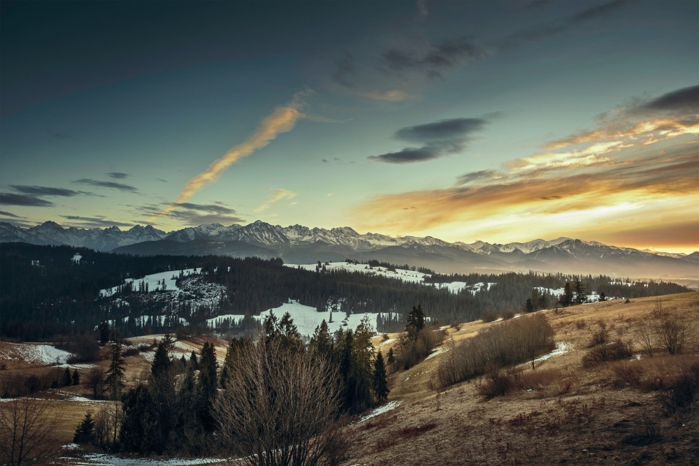 Public Domain Images – Mountain Snow Peak Evening Sunset Clouds Valley
