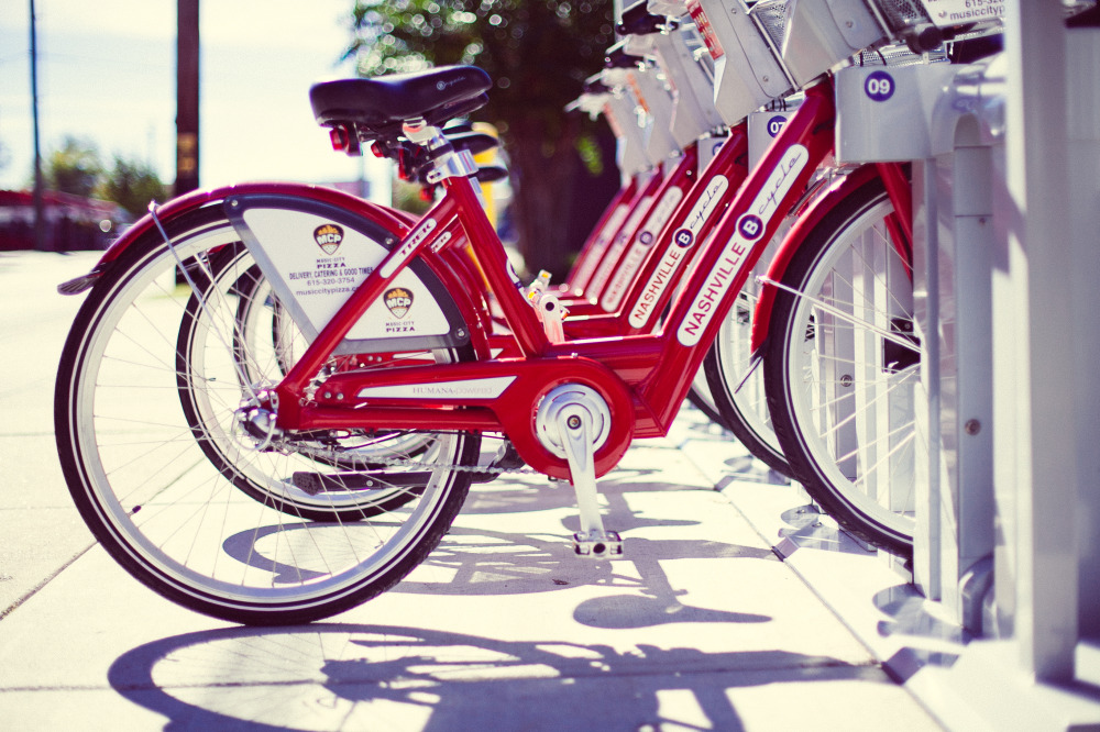 Public Domain Images – Red Bike Public Transportation Shadows Nashville Tennessee