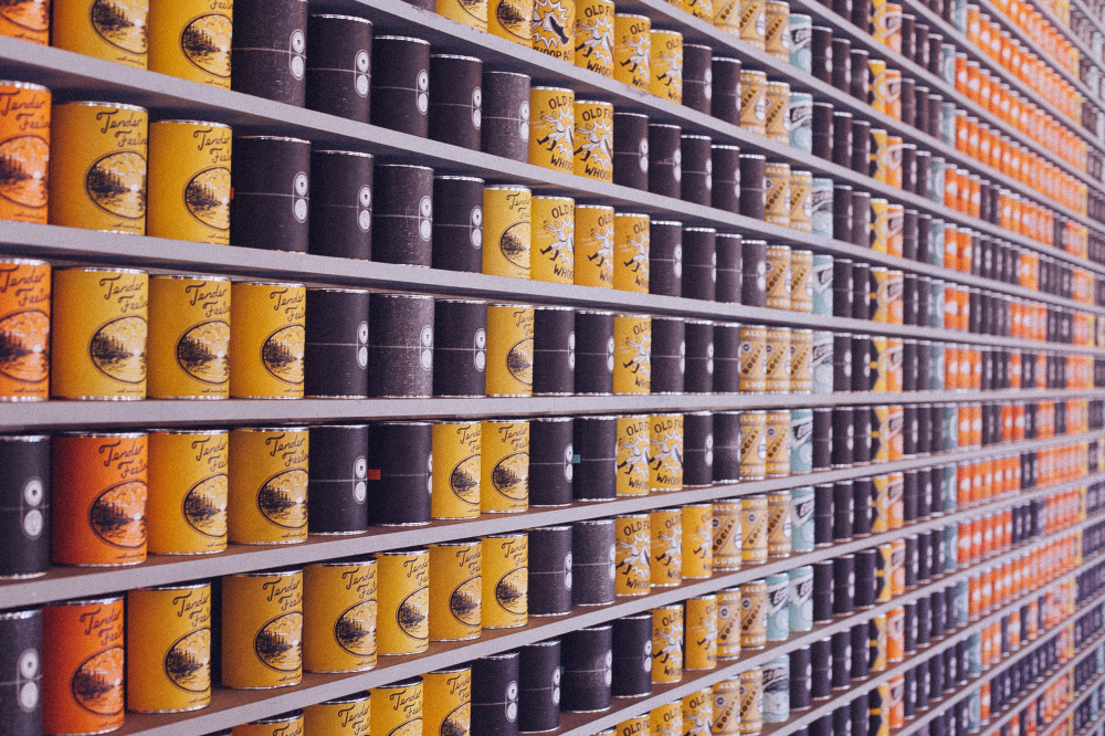 Public Domain Images � Coffee Cans Yellow Black Blue Orange Bokeh Pinewood Social Nashville Tennessee