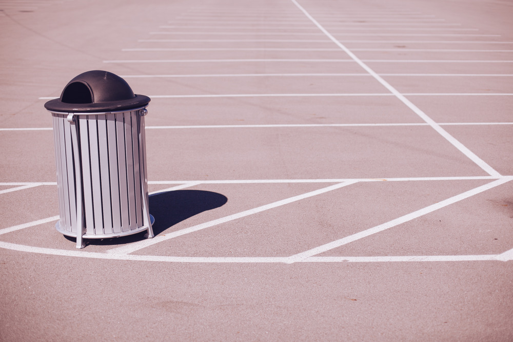 Public Domain Images � Grey Black Trash Can Empty Parking Lot White Lines Shadow