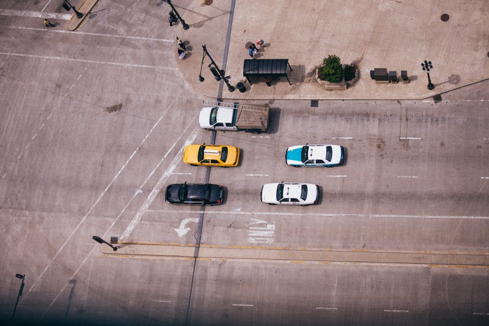 Public Domain Images – Chicago Street Birds Eye View Taxi