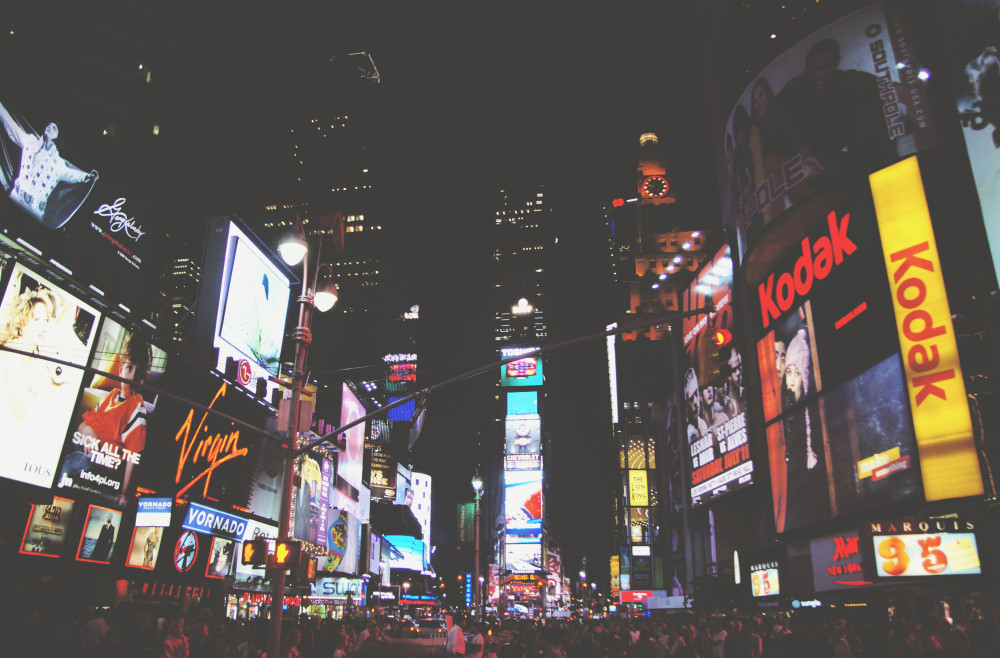 Public Domain Images - .com - Times Square New York City Nightlife Billboards Advertisements People