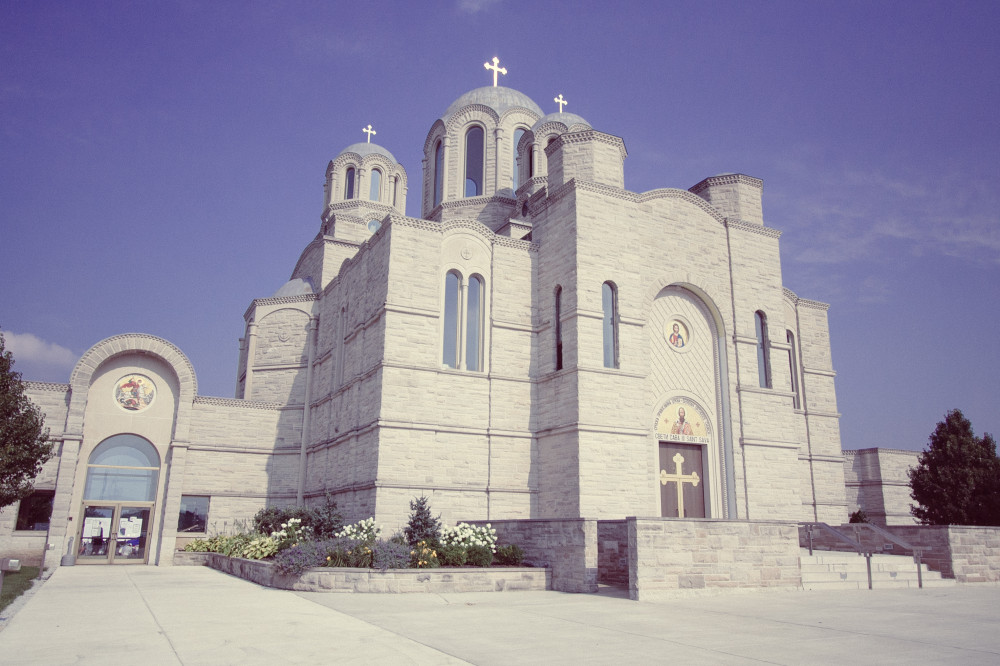 Public Domain Images – St. Sava Serbian Orthodox Church Merrillville Indiana Blue Sky Crosses