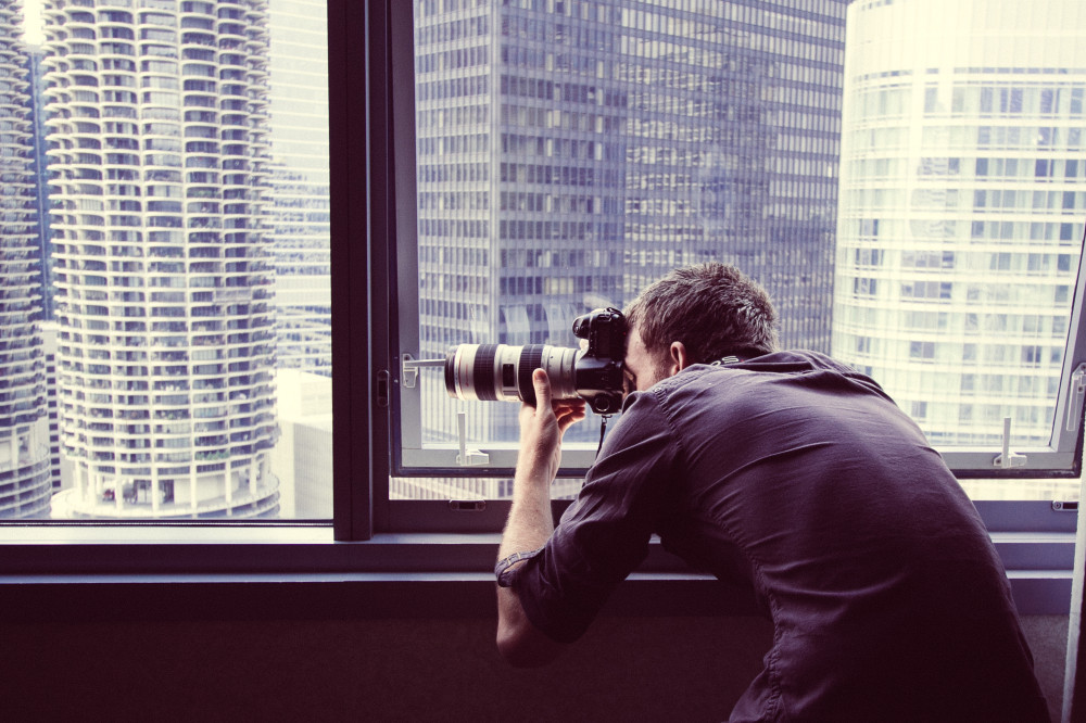 Public Domain Images – Photographer Window Shooting Chicago Sky Line