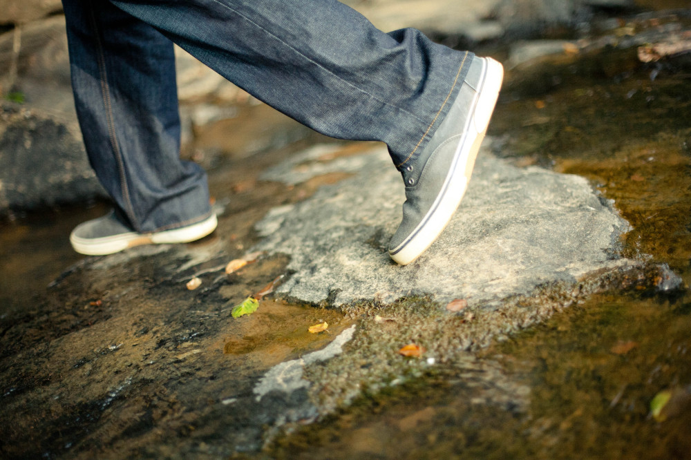 Public Domain Images- Shoes Feet Walking Rocks Creek