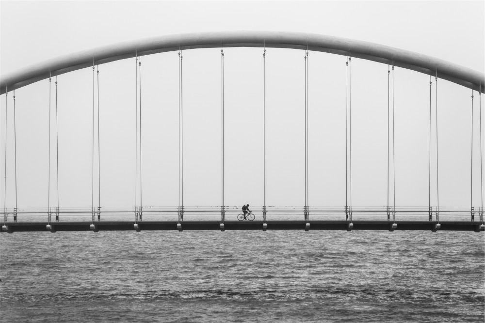 Public Domain Images - Bicycle Bridge Black White River