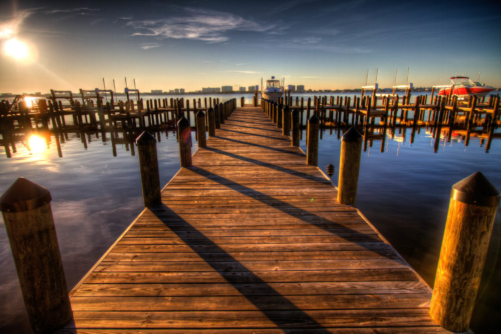 Wooden Wood Boat Dock Sunset Sunrise Ocean Lake